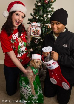 "Erica shows off her playful Christmas spirit while Tom displays his ""bah-humbug"" attitude toward the holidays."